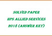Solved Paper HP Allied Services Exam 2018