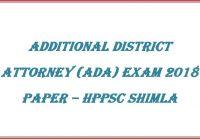 Additional District Attorney Paper 2018 HPPSC Shimla