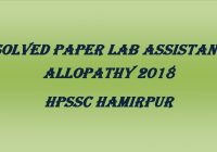 Solved Paper Lab Assistant Allopathy HPSSC hamirpur