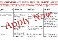 HP Subordinate Allied Services Notitification 2018 HPPSC Shimla Himachal Pradesh General Studies