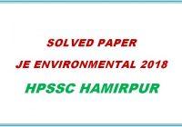 Solved Paper JE Environmental 2018 HPSSC Hamirpur