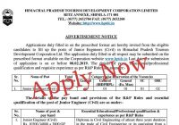 06 vacancies in HP Toursim Development Corporation