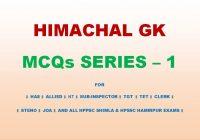 Himachal GK MCQs Series - 1
