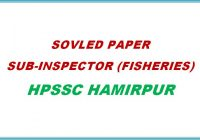 Solved Paper Sub-Inspector Fisheries 2018