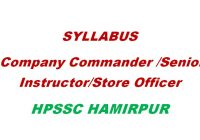 Syllabus Company Commander HPSSC Hamirpur