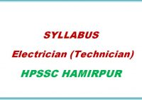 Syllabus Electrician Technician HPSSC Hamirpur