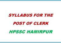 Syllabus for Clerk Exam HPSSC Hamirpur