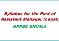 syllabus assistant Manger legal hppsc shimla