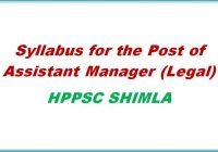 syllabus assistant Manger legal hppsc shimla