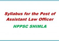 syllabus for Assistant Law Officer hppsc shimla himachal pradesh general studies