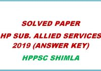 solved paper hp subordinate allied services 2019 hppsc shimla himachal pradesh general studies
