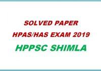 Solved Paper HAS HPAS Exam 2019 - Himachal Pradesh General Studies